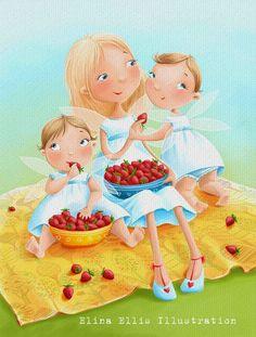 Elina Ellis Illustration: Strawberries and Fairies