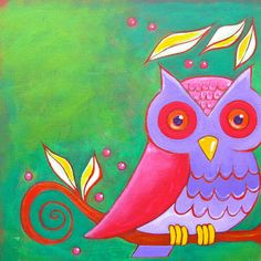 Little Owl by Eden Folwell. purple and pink, even.
