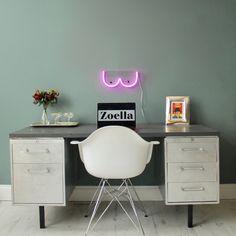 Zoella x bag&bones for CoppaFeel! Zoe Sugg, Light Works, Zoella, Celebrity Dads, Neon Lighting, Corner Desk, Led, Wall, Furniture