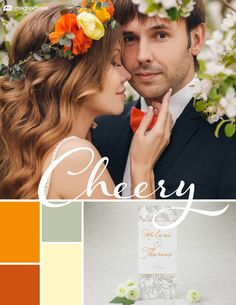 Wedding Color Trends! This vibrant palette is perfect for bold couples and romantic spring weddings: Tangerine   Pumpkin   Sage   Butter - See more combos at MagnetStreet Weddings