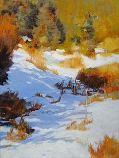 "Elizabeth Sandia, ""Snowy Meadow"" Oil on Canvas 16""x 12"""