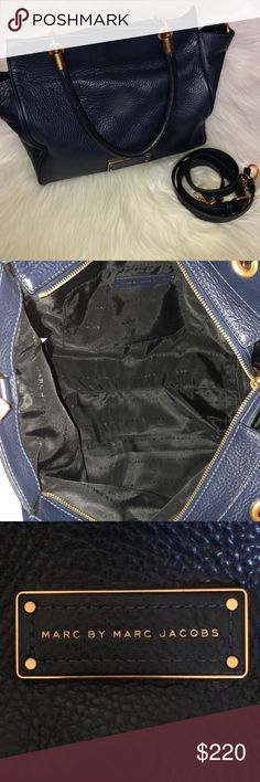 """Authentic Marc by Marc Jacobs Crossbody LIKE NEW Gorgeous authentic Marc by Marc Jacobs dark blue leather crossbody/Shoulder bag. NO stains or rips. The bag is basically in new condition. Spacious, comes with a pocket inside. Measures around 1ft in length although the sides stretch out that's why it's so spacious. Width is around 11"""". Comes with dust bag. Marc By Marc Jacobs Bags Crossbody Bags"""