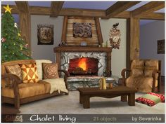 A set of furniture and decor for decoration chalet.  Found in TSR Category 'Sims 4 Living Room Sets'
