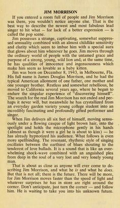 A writer (possibly from a magazine) describes Jim Morrison, apparently before his death