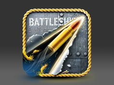 I like how the bullet cuts through the frame and the background of the app icon. The colors blue, yellow, and gray makes me think about the nave and ships os I think they are good color choice. Mobile App Icon, Ios App Icon, Android Icons, Mobile Web Design, App Icon Design, App Logo, Phone Icon, Game Icon, Photoshop