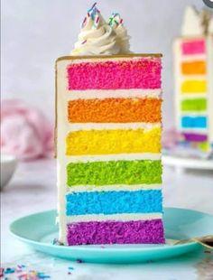 Multi Color Cake, Sweet Recipes, Cake Recipes, Rainbow Layer Cakes, Taste The Rainbow, Colorful Cakes, Sweet Cakes, Creative Cakes, No Bake Cake