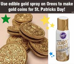 "(Image Only) - - Edible ""Color Mist"" transforms ordinary cookies into ""gold coins"" for St. Patrick's Day... cool!"