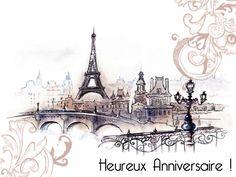 Flâner dans les rues de Paris pour souhaiter un heureux anniversaire à vos proches !  http://www.starbox.com/carte-virtuelle/carte-de-paris/illustration-anniversaire-paris