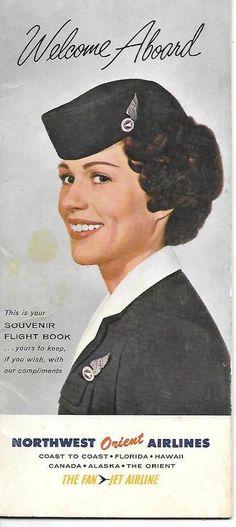 1962 NORTHWEST ORIENT AIRLINES 20 Page Color SOUVENIR FLIGHT Book Vintage #B1