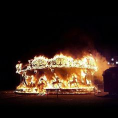Here's a carousel on fire to brighten up your day