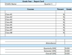 Elementary School Report Card Template  Homeschooling