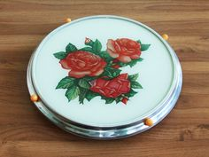 Vintage Rotating Cake Stand with Red Roses, Revolving Cake Tray