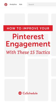 """Need help building engagement on Pinterest!? Look no further, we have the 15 BEST tips!  <a href=""""http://coschedule.com/blog/pinterest-engagement-tactics/?utm_campaign=coschedule&utm_source=pinterest&utm_medium=CoSchedule&utm_content=How%20To%20Improve%20Your%20Pinterest%20Engagement%20With%20These%2015%20Tactics"""" rel=""""nofollow"""" target=""""_blank"""">coschedule.com/...</a>"""