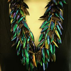 beetle-wing necklace