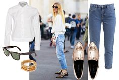 Do you love this streetstyle look as much as we do? Click now to shop the items on MonStyle! | Metallic shoes | Fashion | Shopping | Jeans |