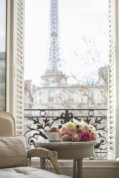Paris window opening on the Eiffel Tower. A romantic girl's dream! Hidden in Paris. Oh Paris, I Love Paris, Pink Paris, Paris 2015, Paris Girl, Parisian Apartment, Paris Apartments, Apartment View, French Apartment
