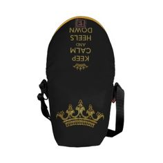 Keep Calm Heels Down Gold Mini Zero Messenger Courier Bags especially for horse riders :)