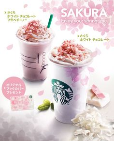 Starbucks Sakura (cherry blossom) Frappuccino and latte available in Japan: