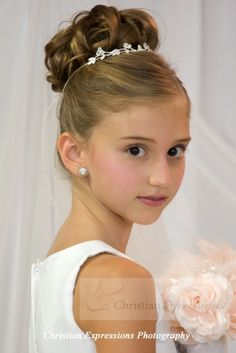 First Communion Hairstyles First Communion Lace Mantilla  Pinterest  Communion Veil And Pearls