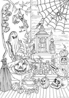 halloween dibujos Halloween Stuff - Printable Adult Coloring Page from Favoreads (Coloring book pages for adults and kids, Coloring sheets, Colouring designs) Fall Coloring Pages, Adult Coloring Book Pages, Printable Adult Coloring Pages, Coloring Books, Fairy Coloring, Mandala Coloring, Image Halloween, Theme Halloween, Halloween Stuff