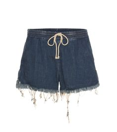 Chloé - Denim shorts - Chloé's denim shorts are a cut above the rest. Finished with a drawstring waist and exaggerated fraying to the hems, they're perfect with a billowy blouse for that beloved boho look. seen @ www.mytheresa.com