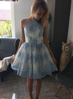 2017 homecoming dresses, A-line homecoming dresses, lace applique homecoming dresses, open back homecoming dresses, short prom dresses, party dresses, formal dresses#SIMIBridal #homecomingdresses