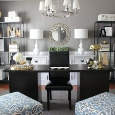 Home Office...I think the lamps are too much with the chandelier but love the rest.