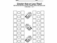 Lesson Plan Diva - The students roll the dice to fill in the 2 numbers. For your higher students roll 2 sets of dice to make 2 digit numbers. Then they write in the correct sign. Free download.  Lots of nice downloads at this site.