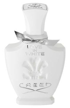Creed 'Love in White' Fragrance available at #Nordstrom  1 oz $165.00 Item #210696.  2.5  oz $275.00 Item #210696. Notes:  - Top: orange zest from southern Spain.  - Middle: rice husk from Tonkin, iris from Egypt, white jasmine from the Italian coast, daffodils from the French Riviera, magnolia from Guatemala, Bulgarian rose. - Base: Vanilla from Java, ambergris from Calabria, sandalwood from Mysore.  suggested as base for my JM's