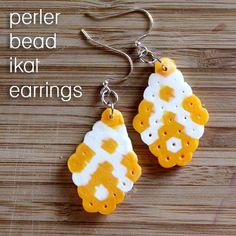 Ikat Perler Bead Earrings