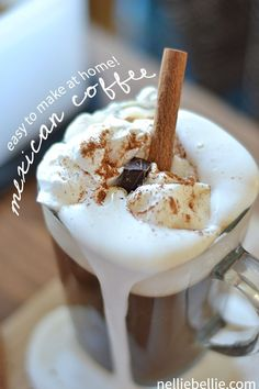 Easy Mexican Coffee ~ Why go out for coffee when you can make your own at home? This easy Mexican coffee is a great gourmet drink that you can make with just a coffee maker. Mexican Coffee Recipe, Coffee Recipes, Mexican Food Recipes, Drink Recipes, Great Coffee, Hot Coffee, Coffee Drinks, Espresso Coffee, Coffee Deserts