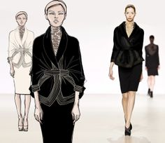 from sketch to runway look by anna miminoshvili, via Behance Fashion Line, Fashion Sketches, Anna, Runway, Dresses With Sleeves, Long Sleeve, Illustration, Behance, Sketches
