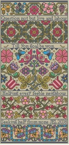 """""""Froth and Bubble II"""" is the title of this cross stitch pattern from Long Dog Samplers. """"Question not to live and labour, till yon goal is won, helping every feeble neighbor, seeking help from none""""."""