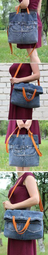 shape and handles Jean Crafts, Denim Crafts, Diy Jeans, Jean Purses, Diy Bags Purses, Denim Handbags, Denim Purse, Recycled Denim, Patchwork Bags