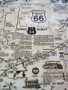 Map of Route 66 Landmarks City Fabric by Timeless Treasures