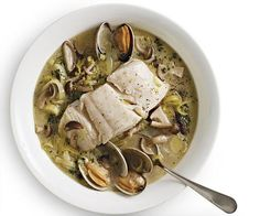 Braised Pacific Halibut with Leeks, Mushrooms, and Clams by Fine Cooking