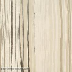 Papel Pintado Spirit&Soul 110825, papel de rayas verticales irregulares en distintos tonos de marrón.
