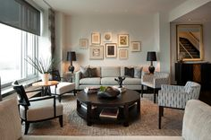 Looking for Contemporary Living Space and Living Room ideas? Browse Contemporary Living Space and Living Room images for decor, layout, furniture, and storage inspiration from HGTV. Beige Living Rooms, Transitional Living Rooms, Living Room Sofa, Living Room Interior, Living Room Furniture, Living Room Decor, Living Spaces, Small Living, Dark Furniture