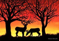 "Grazing Deer at Sunset, acrylic painting"" Canvas Prints by Alison ..."