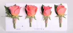 Coral rose rustic buttonholes - Rustic wedding flowers made by Amy's Flowers