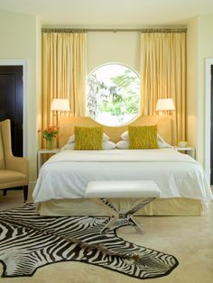 beautiful yellow bedroom]][[ instead of zebra, I would do a crazy flower pattern with red and yellow and orange with a tiny bit of teal and green