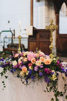 Bach Wen Farm Wedding Colourful Festival Inspired By The Sea Church Wedding Flowers, Wedding Pews, Altar Flowers, Wedding Set Up, Wedding Looks, Farm Wedding, Garden Wedding, Floral Centerpieces, Floral Arrangements