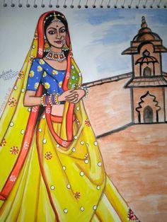 Cool Art Drawings, Easy Drawings, Pencil Drawings, Pencil Sketch Portrait, Radha Kishan, Indian Women Painting, Krishna Drawing, Paper Flowers Craft, Ganesha Art