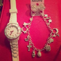 Watch , earrings & bracelet Beautiful set  Jewelry Necklaces