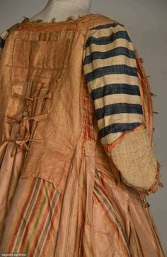 Interior of a 1765-1775 sacque-back gown - the lower sleeves are lined in brown linen, sold at Augusta Auctions