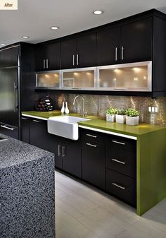 Modern Kitchen Interior - A contemporary kitchen design means different thing to different people. For some it is a clean bold look, for others […] Kitchen Room Design, Kitchen Cabinet Design, Home Decor Kitchen, Interior Design Kitchen, Home Design, Kitchen Ideas, Country Kitchen, Kitchen Colors, Kitchen Inspiration