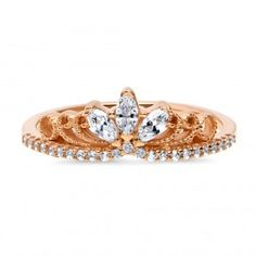 Berricle Rose Gold Over Silver Cz Crown Milgrain Filigree Promise Ring Ctw Filigree Ring, Promise Rings, Anklets, Rose Gold Plates, Ring Designs, Gold Rings, Fashion Jewelry, Brooch, Engagement Rings