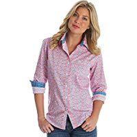 3356482f Wrangler Women's George Strait Western Shirt- Peach Floral | Women's ...