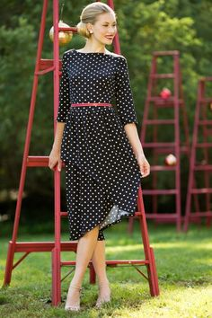 On the Dot Dress. Modest doesn't mean frumpy. Dressing with Dignity! http://amzn.to/1qeVHv9