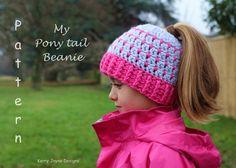 My Pony tail hat Crochet Pattern Messy bun by KerryJayneDesigns